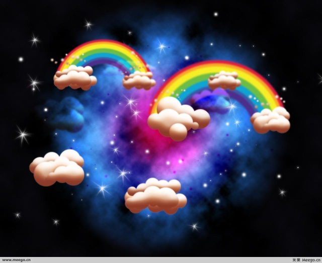上,飘荡着一朵美丽的彩虹!-祝完美人生生日快乐图片