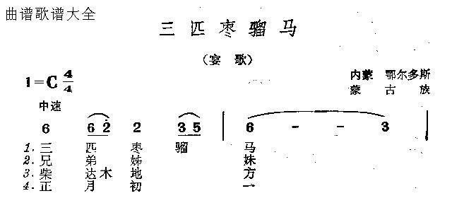 三匹枣骝马-曲谱歌谱大全-搜狐博客