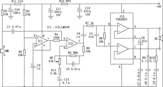用lm358和tda2822组成的喊话器电路图