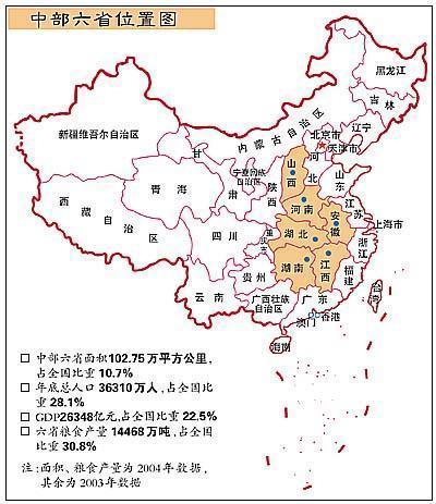 中部地区包括湖北、湖南、河南、安徽、江西、山西六个相邻省份